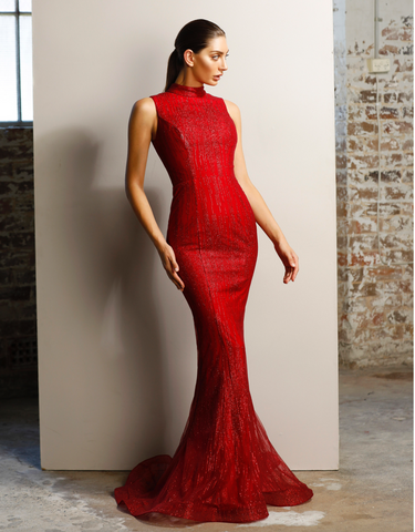 Lady in Red Evening Gown