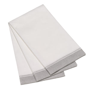 Carlstitch Guest Towel - Special White and Silver