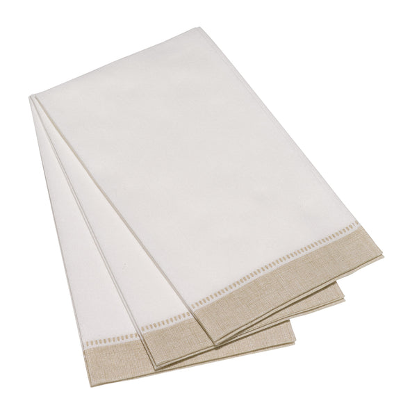 Carlstitch Guest Towel - Special White and Taupe