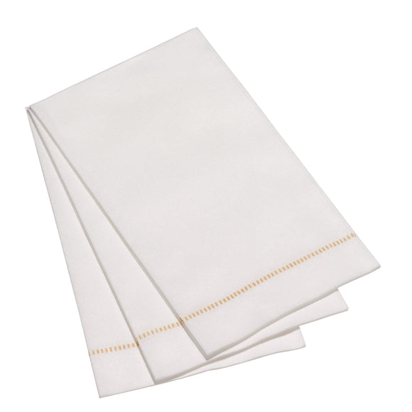 Deluxe 'Hemstitch' Guest Towel - Special White with GOLD Stitch