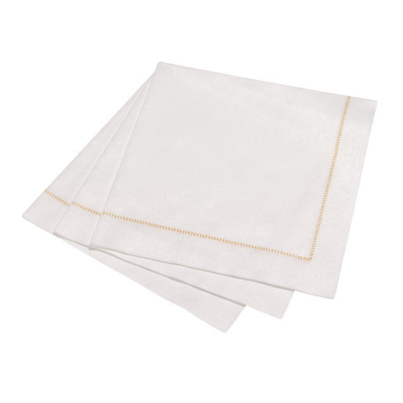 Deluxe Hemstitch Dinner Napkin 50 Piece Entertaining Pack - Special White with GOLD Stitch