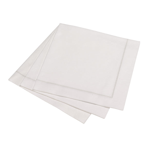Deluxe 'Hemstitch' Dinner Napkin 15 Piece Pack - Special White with SILVER Stitch