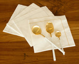 Deluxe 'Hemstitch' Dinner Napkin 15 Piece Pack - Special White with GOLD Stitch
