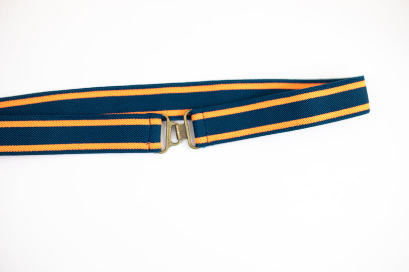 "1.5"" orange and navy stripe belt"