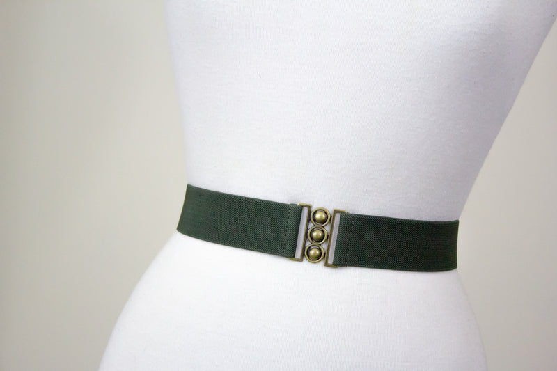 Army green belt with antique gold clasp
