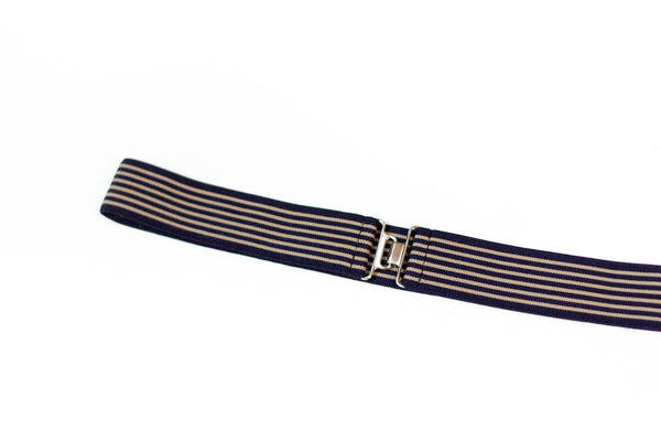 "1.5"" black and beige stripe belt"