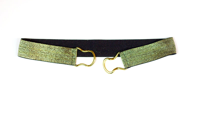 "1.5"" gold on black belt with gold clasp"