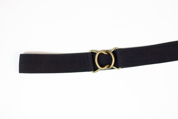 "1.5"" black belt with antique gold clasp"