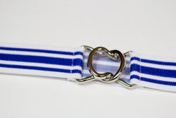 "1.5"" blue and white stripe belt with silver clasp"
