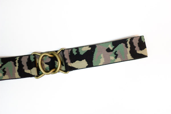 "1.5"" camo belt with antique gold clasp"