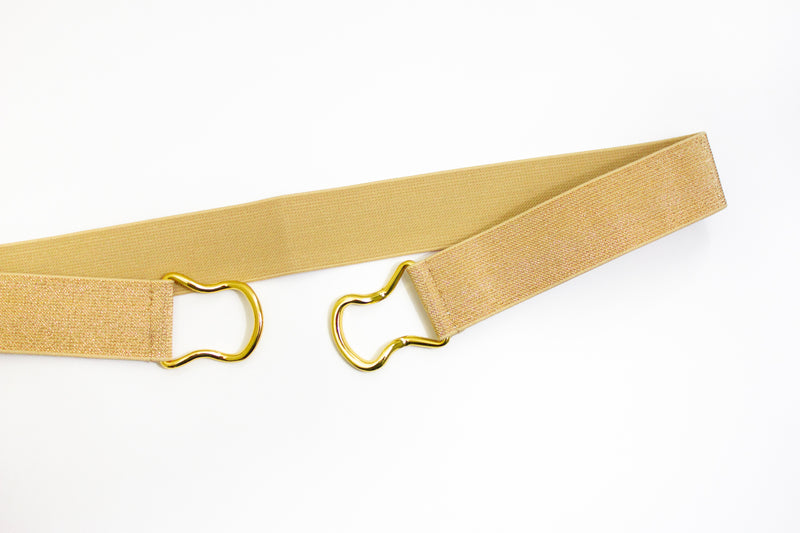 "1.5"" dark gold belt with gold clasp"