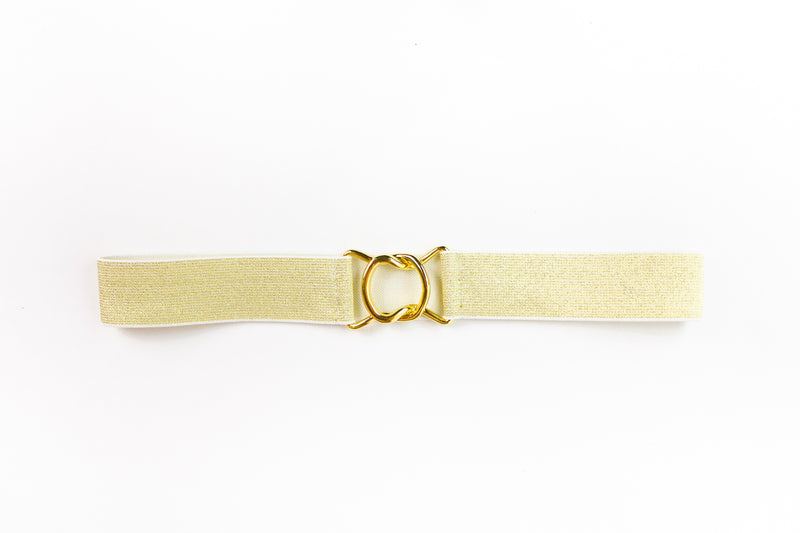 Women's 1.5 inch gold elastic waist belt by Cinched Apparel