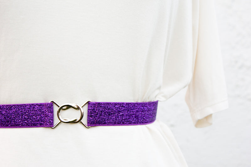 Women's 1 inch purple glitter belt by Cinched Apparel