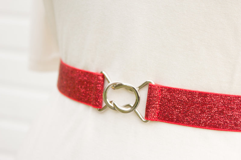 Women's 1 inch red glitter belt by Cinched Apparel