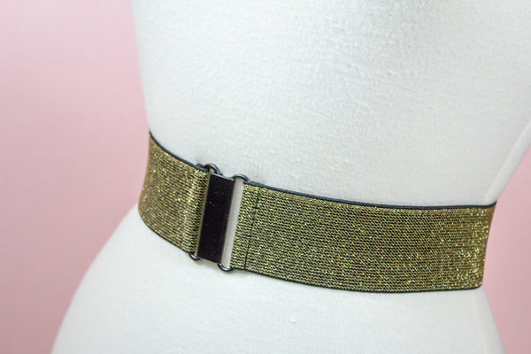 Women's 2 inch dark gold elastic waist belt by Cinched Apparel
