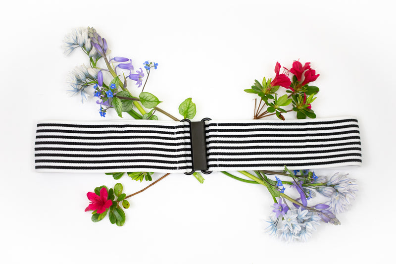 "2"" black and white striped belt"