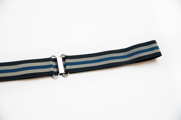 "1.5"" beige, blue and navy stripe belt"