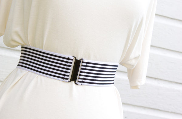 Women's 2 inch black and white striped belt by Cinched Apparel