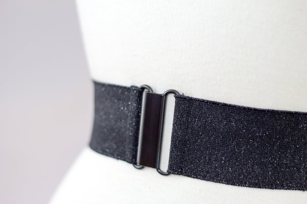 "Women's 2"" black glitter belt by Cinched Belts"