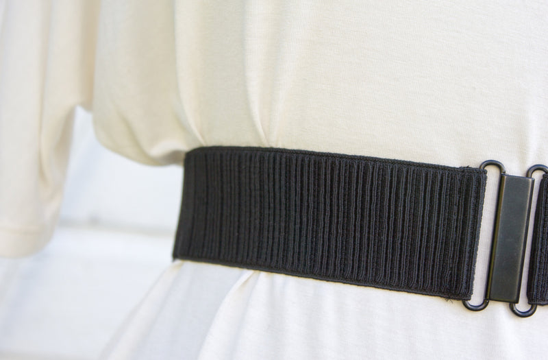 Women's 2 inch black narrow ribbed belt by Cinched Apparel