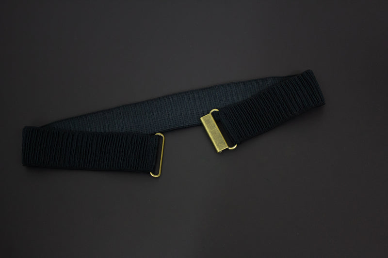 "2"" black narrow ribbed belt"