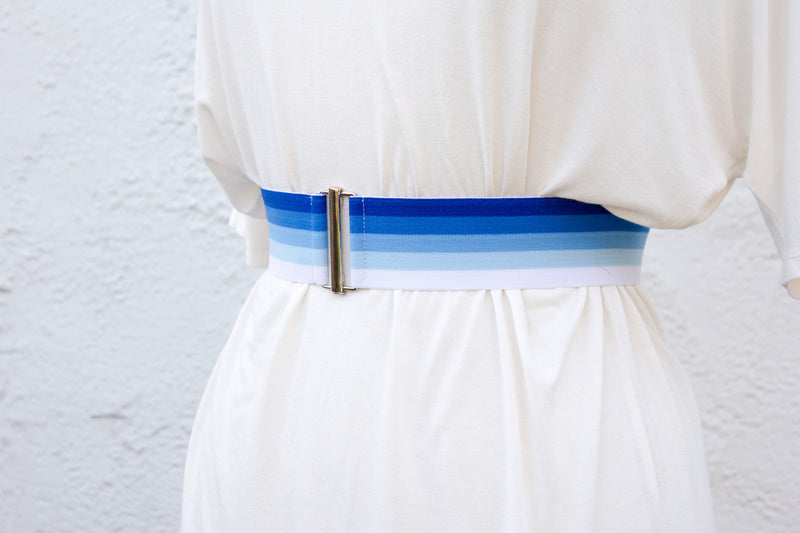 Women's 2 inch blue ombre belt by Cinched Apparel