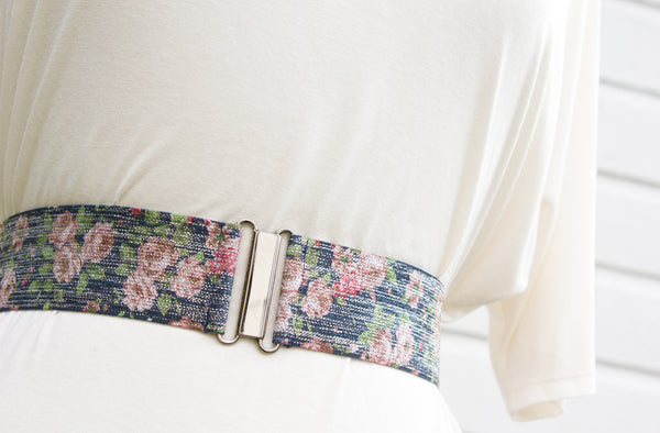 Women's 2 inch floral print belt by Cinched Apparel