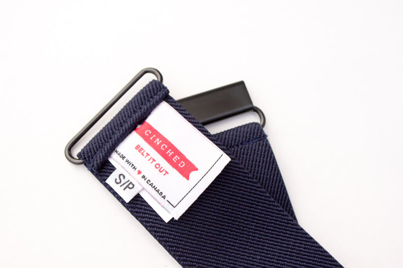 Women's 2 inch navy blue belt by Cinched Apparel
