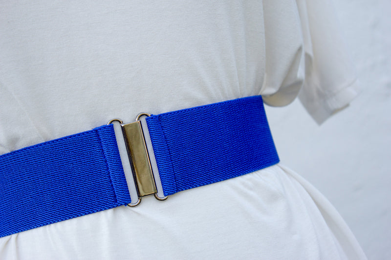 Women's 2 inch royal blue elastic waist belt by Cinched Apparel