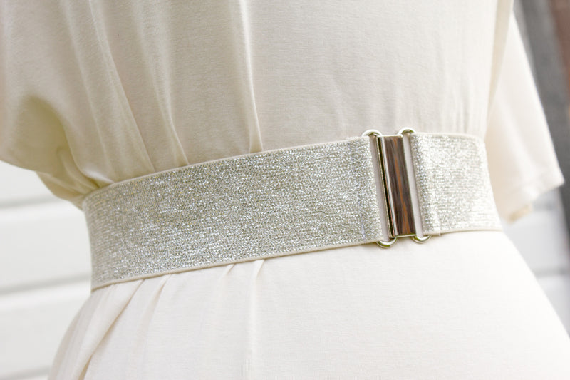 Women's 2 inch silver glitter belt by Cinched Apparel