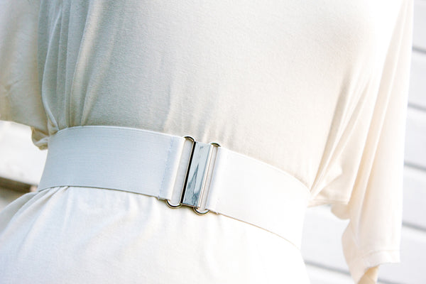 Women's 2 inch white belt by Cinched Apparel