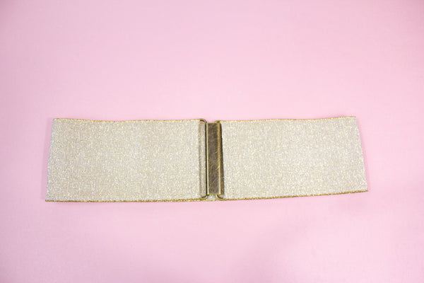 Women's 3 inch gold elastic waist belt by Cinched Apparel