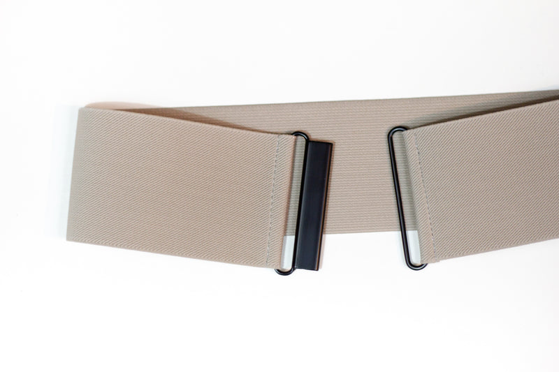 Women's 3 inch beige elastic waist belt by Cinched Apparel