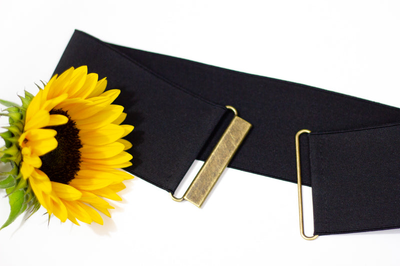 Women's 3 inch black elastic waist belt