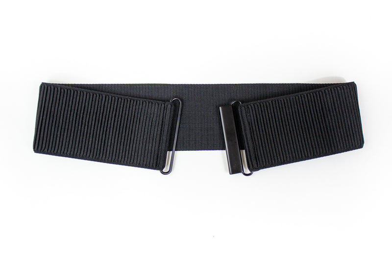 Women's 3 inch black elastic waist belt by Cinched Apparel