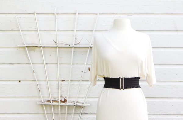 Women's 3 inch black ruffled belt by Cinched Apparel