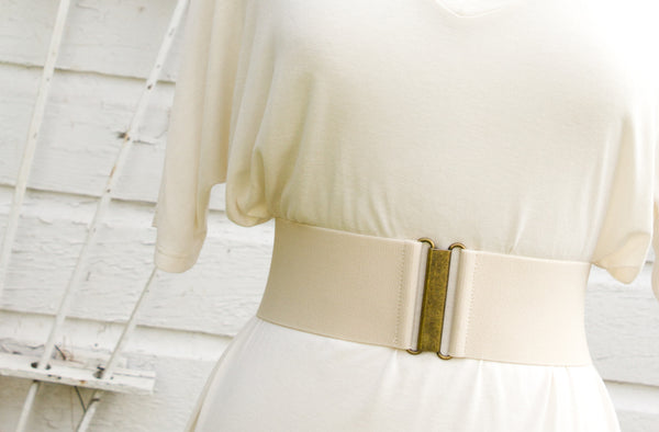Women's 3 inch cream belt by Cinched Apparel