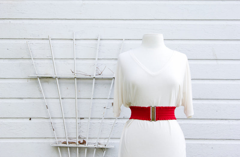 Women's 3 inch red ruffled belt by Cinched Apparel
