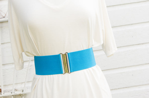 Women's 3 inch cerulean blue belt by Cinched Apparel
