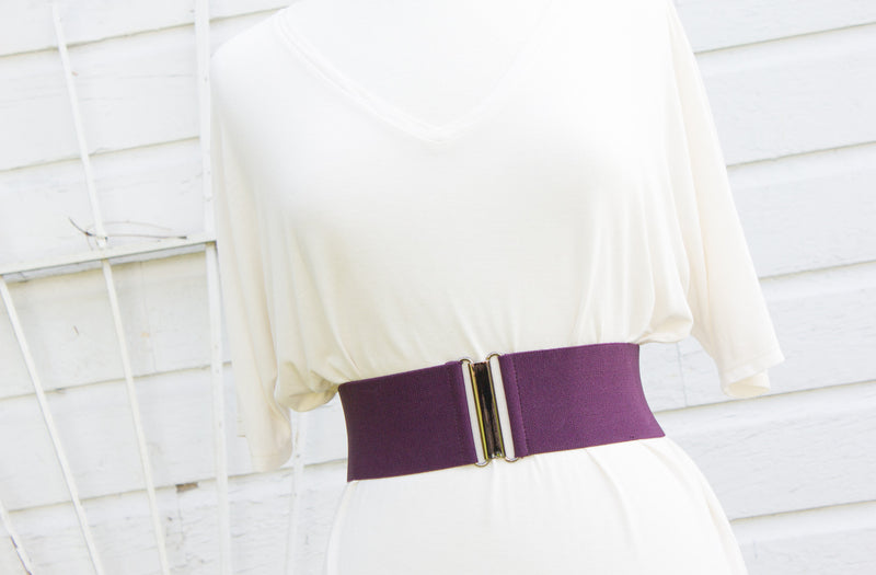 Women's 3 inch purple elastic waist belt by Cinched Apparel