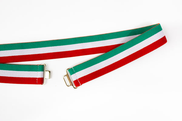 Red, green and white striped belt with silver clasp
