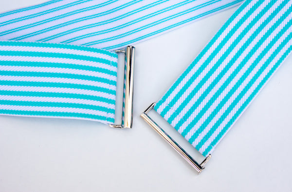 "2"" aqua and white striped belt by Cinched Belts. Proudly made in Canada."