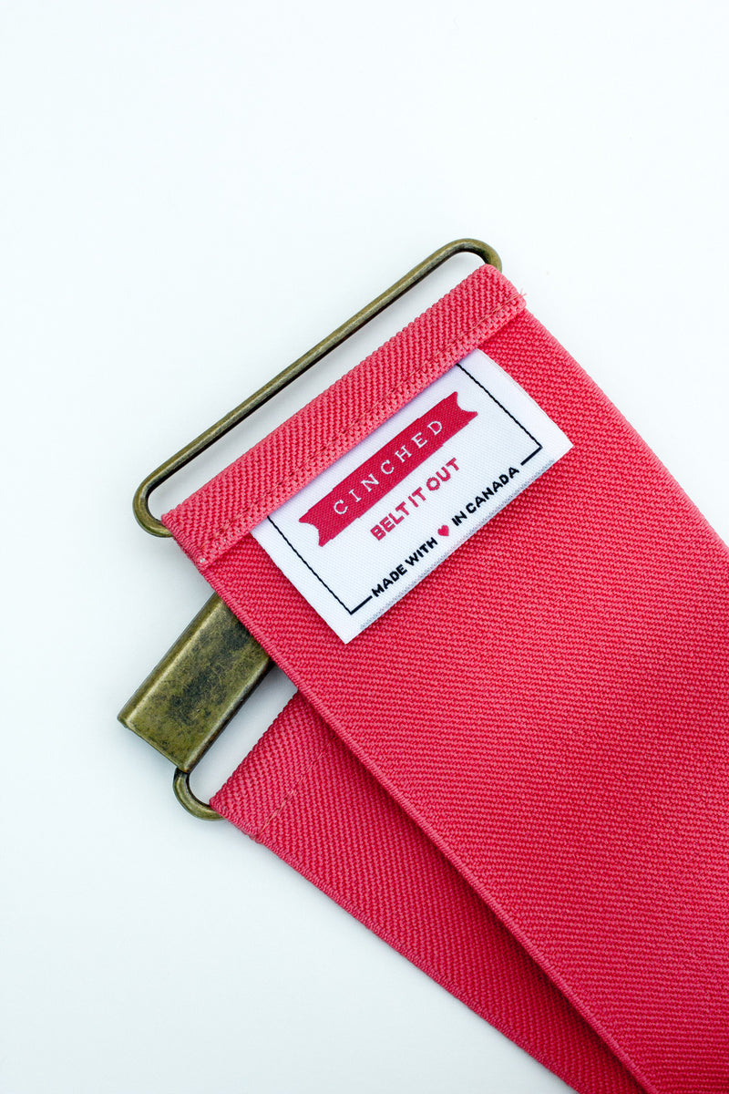 Women's 3 inch coral pink belt by Cinched Apparel