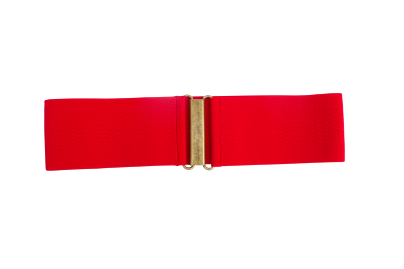 "Small 3"" red belt with antique gold clasp"