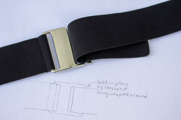 Black low-profile invisible belt by Cinched Belts