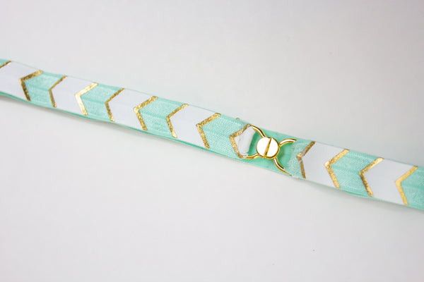 ".5"" aqua and white chevron belt"