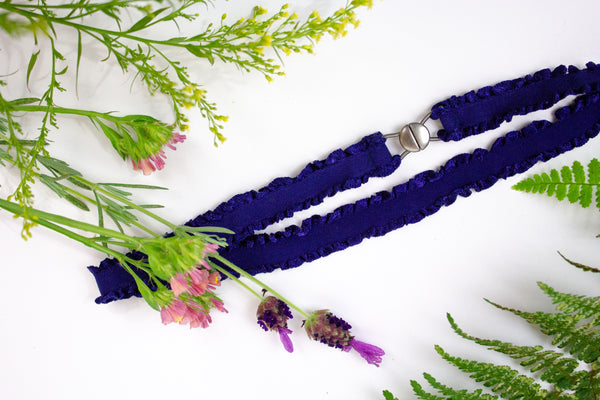 ".5"" navy ruffled belt"