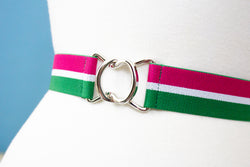 Watermelon striped belt with silver clasp