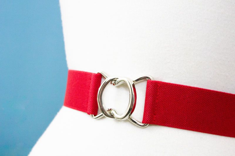 "1.5"" red belt with silver clasp"