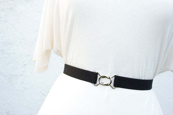 Women's 1 inch black belt by Cinched Apparel